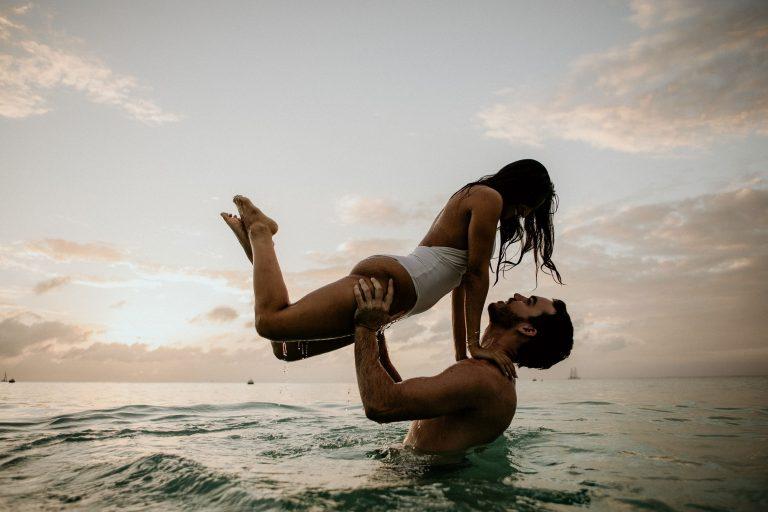 cayman islands beach engagement photo