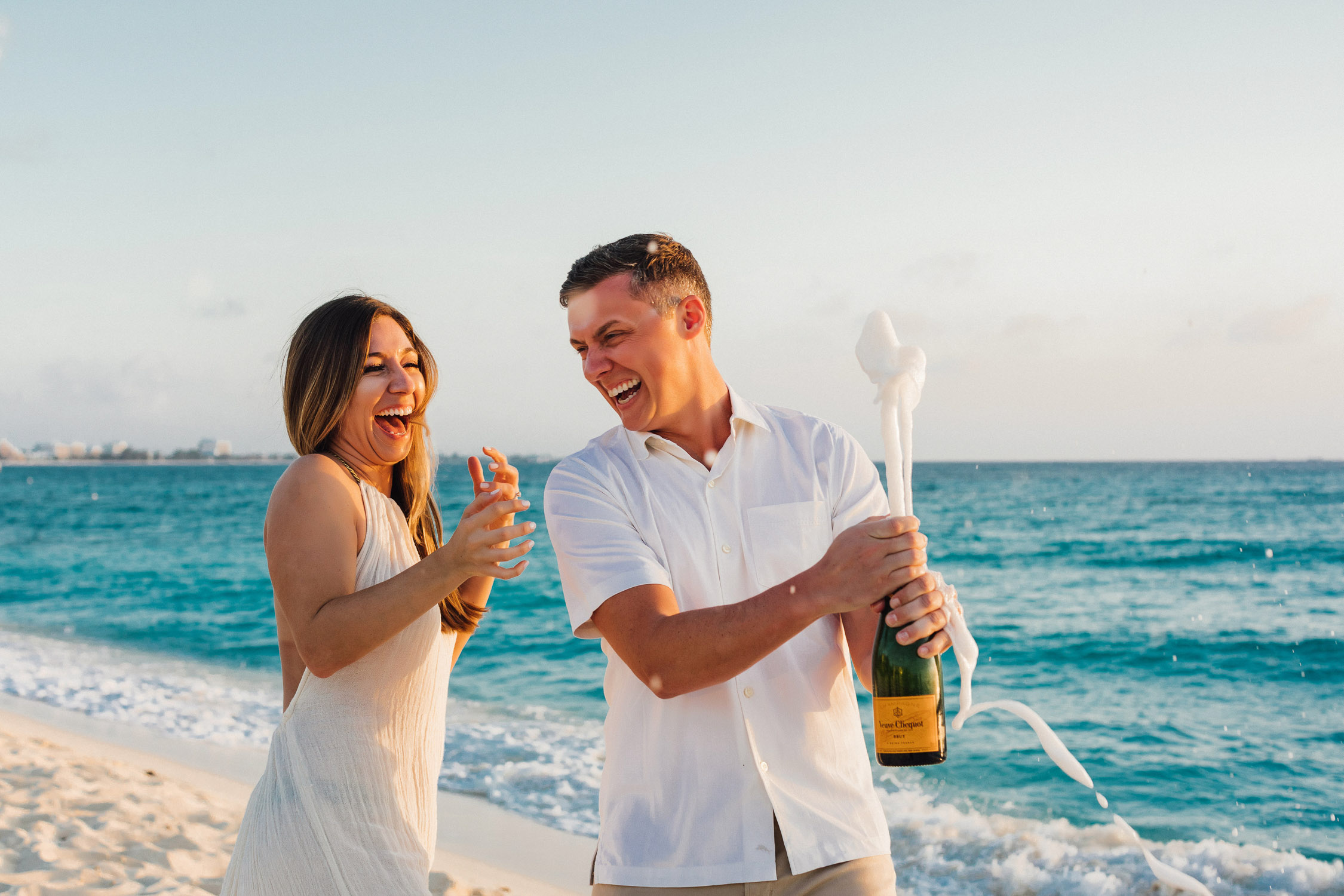 cayman islands beach engagement photo