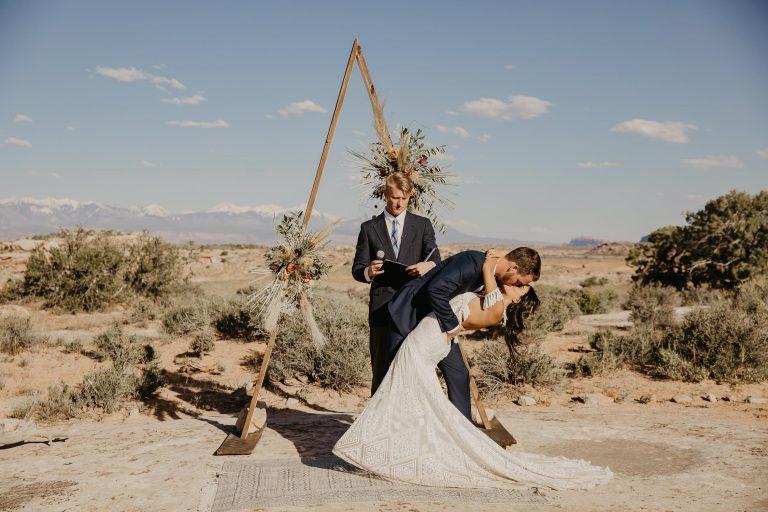 moab utah wedding at under canvas bride and groom