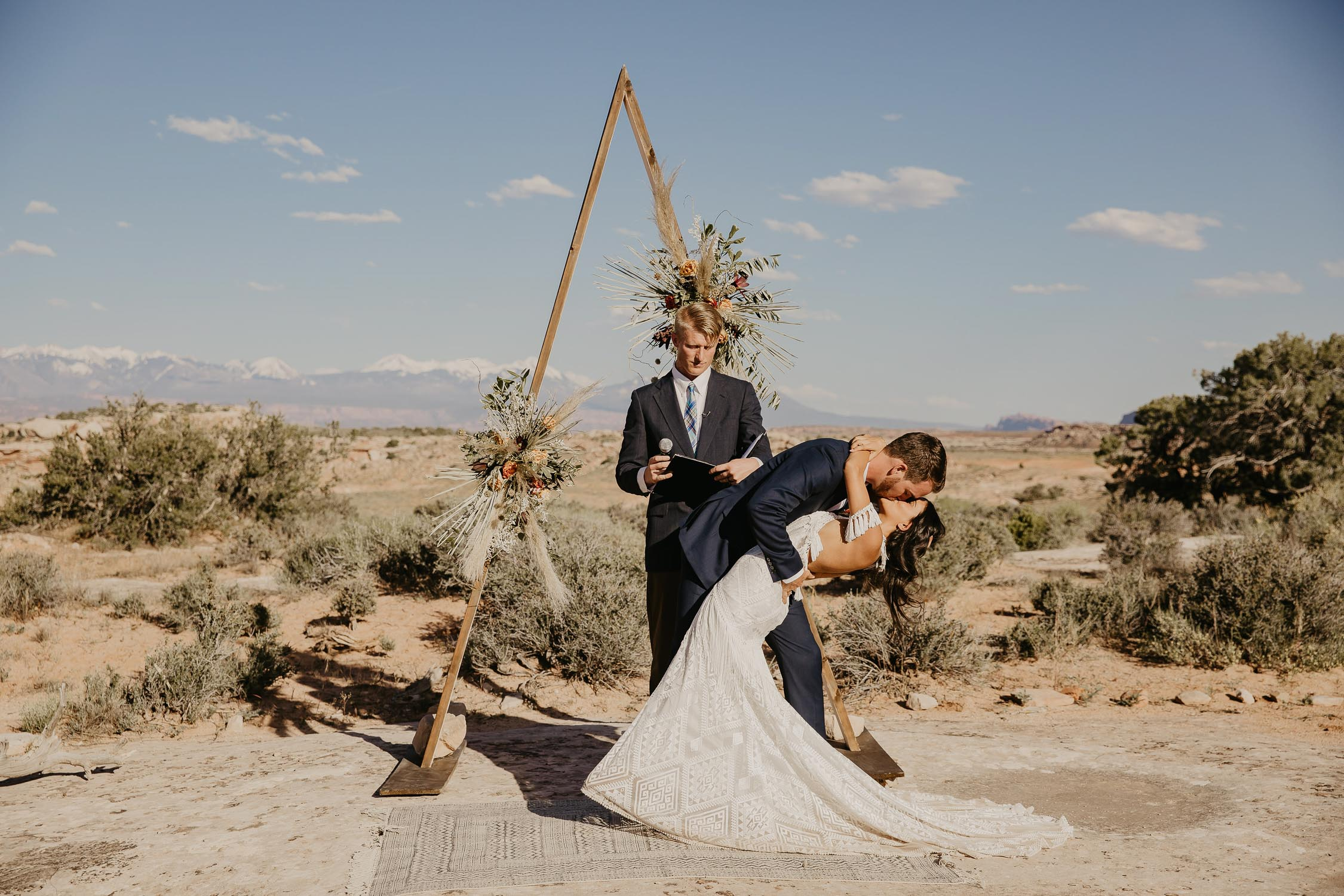 moab utah wedding at under canvas bride and groom